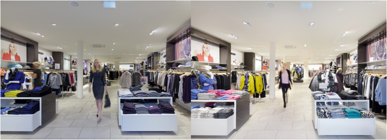 In cooperation with Gerry Weber, Zumtobel revamped the lighting in a branch in Herford and specifically tailored it to the lighting preferences of the main target group as part of a field study. Moderate accent lighting with warm colors was used. (Left: before, right photos: after) Image: Zumtobel