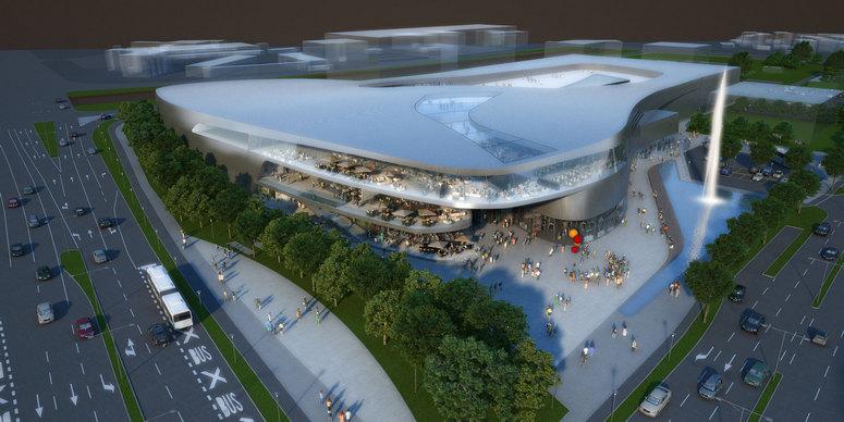 Construction of the district shopping center in Ljubljana-Šiška, Slovenia.