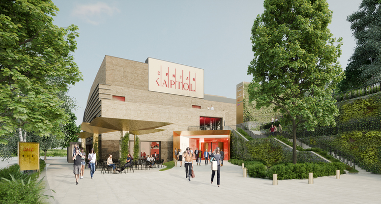 The forecourts of the center will be redesigned and modernized, and the existing natural stone facade will be extensively renovated. Image: BEHF