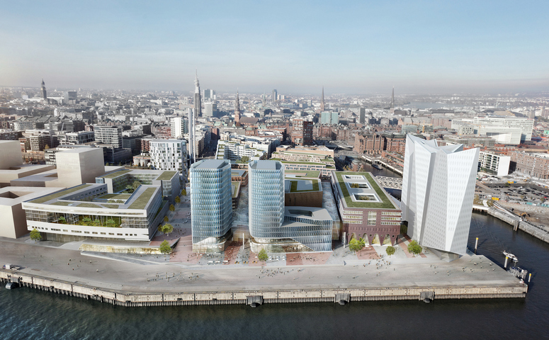The southern Überseequartier is embedded in HafenCity Hamburg,